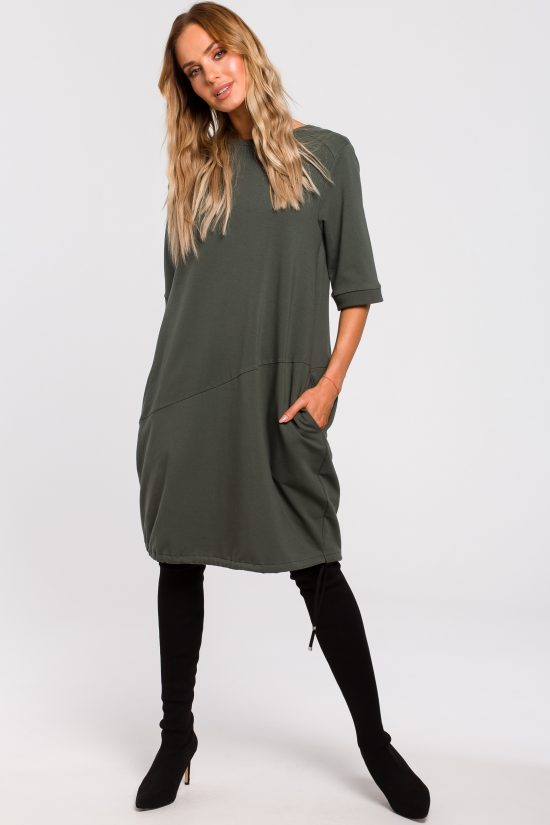 Sukienka bombka dresowa khaki