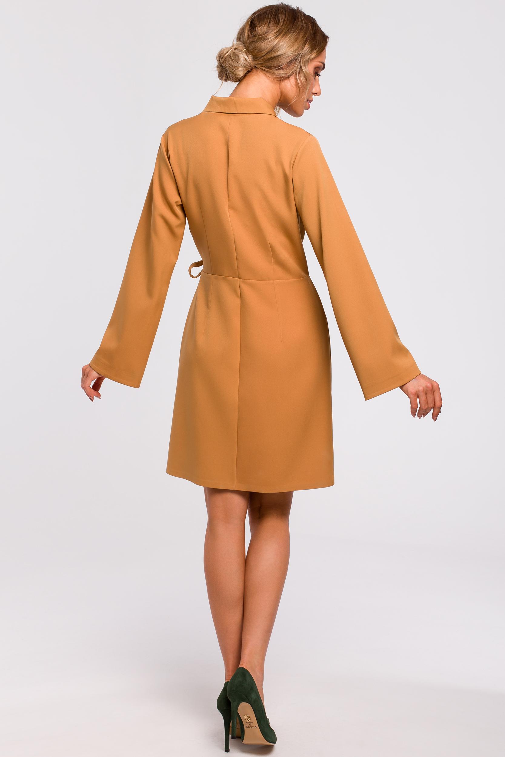 Sukienka kopertowa do kolan cynamonowa s