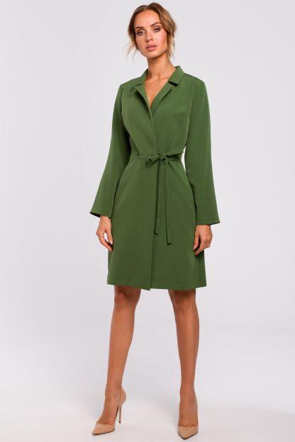 Sukienka żakietowa do kolan zielona