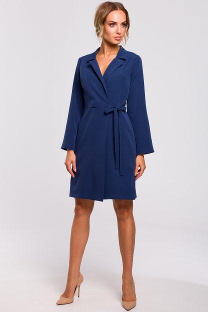 Sukienka żakietowa do kolan niebieska