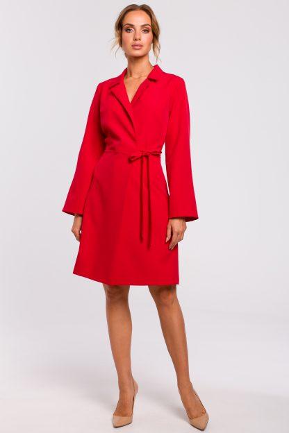 Sukienka żakietowa do kolan czerwona