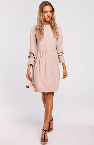 Sukienka odcięta w pasie beżowa