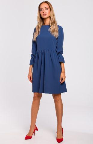 Sukienka odcięta w pasie niebieska