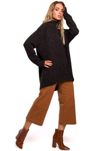 Długi sweter z golfem grafitowy