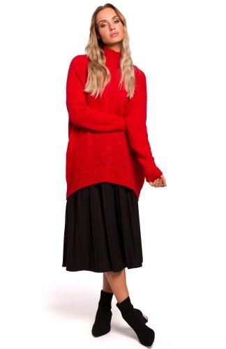 Długi sweter z golfem czerwony