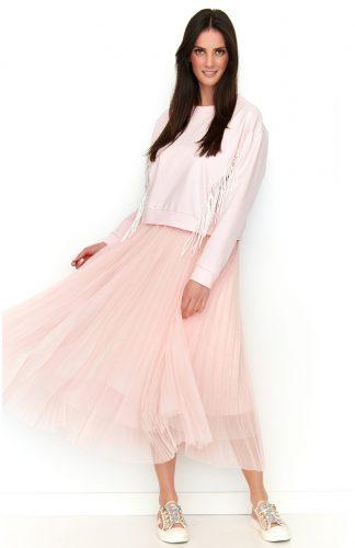 Bluza z frędzlami różowa