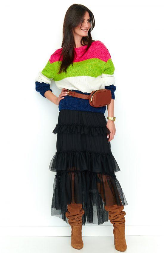 Sweter w kolorowe paski neonowy