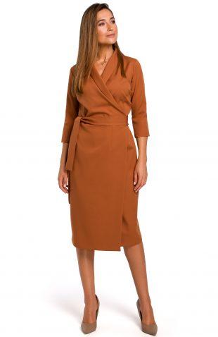Sukienka kopertowa midi rudy