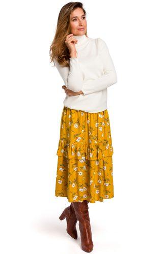 Spódnica midi w kwiaty żółta