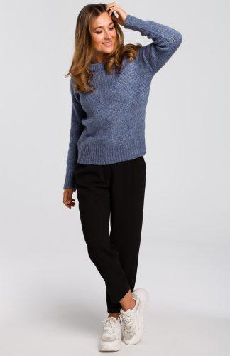 Sweter wkładany przez głowę niebieski