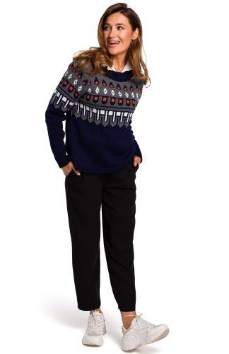 Sweter w norweskie wzory granatowy
