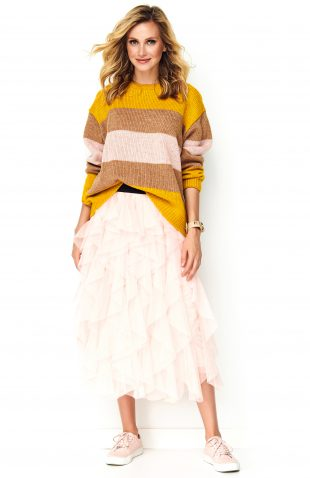 Sweter w paski z lekkiej przędzy