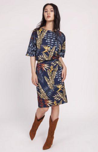 Sukienka kimonowa elegancka granatowa