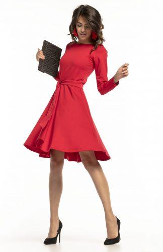 Sukienka rozkloszowana elegancka czerwona