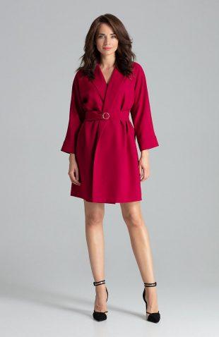 Sukienka żakietowa elegancka bordowa