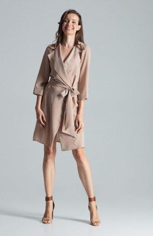 Sukienka kopertowa elegancka beżowa