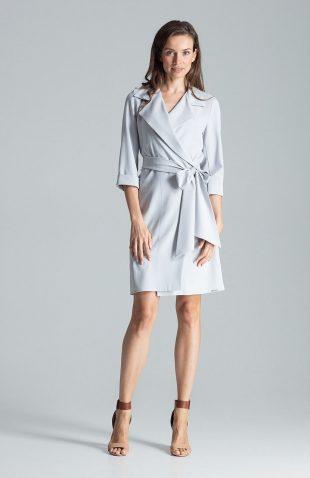 Sukienka kopertowa elegancka szara
