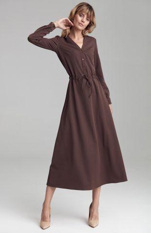 Sukienka maxi z długim rękawem brązowa