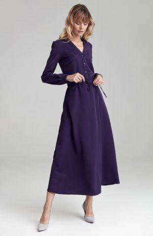 Sukienka maxi z długim rękawem fioletowa