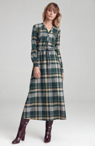 Sukienka maxi w kratę elegancka