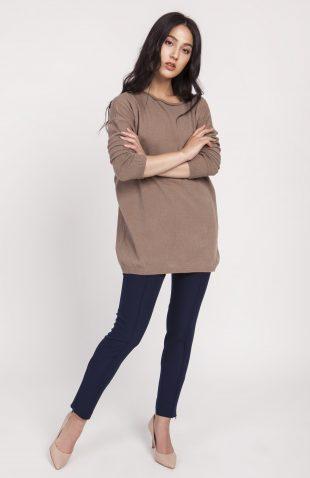 Dzianinowa bluzka oversize mocca
