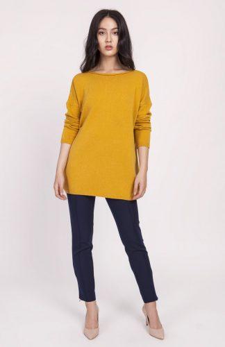 Dzianinowa bluzka oversize musztardowa