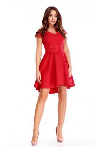 Sukienka koktajlowa z koronką czerwona