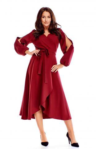 Sukienka kopertowa midi bordowa