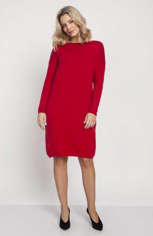 Sukienka dzianinowa z długim rękawem czerwona