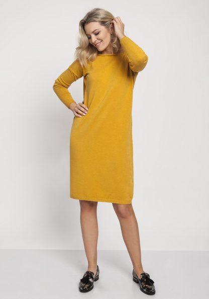 Sukienka dzianinowa z długim rękawem żółta