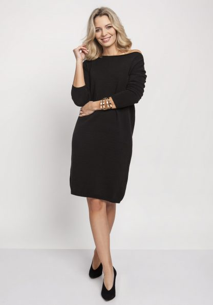 Sukienka dzianinowa z długim rękawem czarna