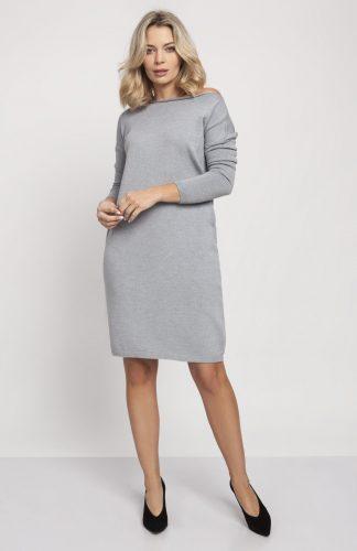 Sukienka dzianinowa z długim rękawem szara