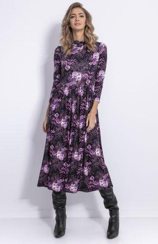 Sukienka midi w kwiaty ze stójką