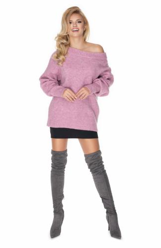 Sweter oversize w łódkę lila