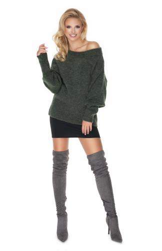 Sweter oversize w łódkę khaki
