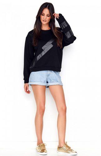 Bluza damska czarna z eko-skórą