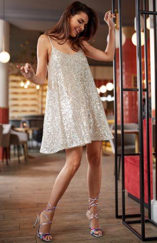 Sukienka cekinowa mini beżowa