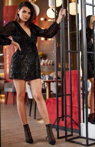 Sukienka cekinowa kopertowa czarna