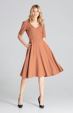 Sukienka midi rozkloszowana brązowa