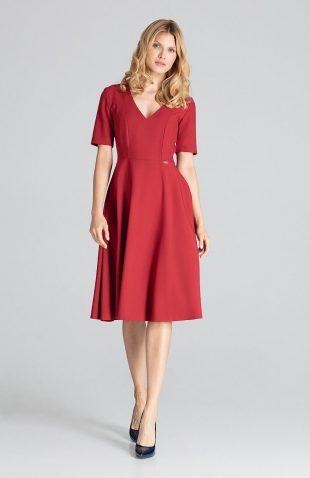 Sukienka midi rozkloszowana bordowa
