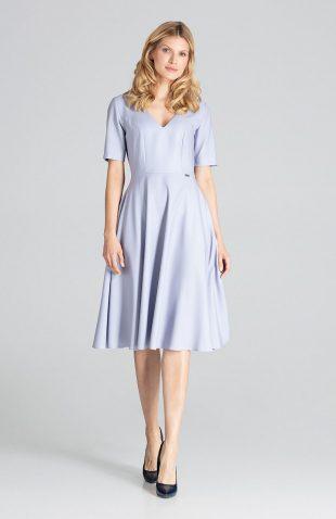 Sukienka midi rozkloszowana szara