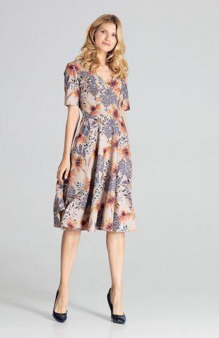 Sukienka midi rozkloszowana w kwiaty