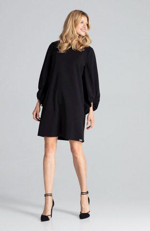 Sukienka trapezowa z szerokimi rękawami czarna