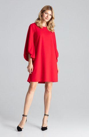Sukienka trapezowa z szerokimi rękawami czerwona