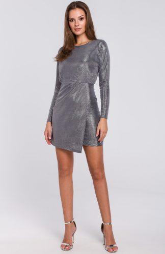 Sukienka wieczorowa srebrna mini