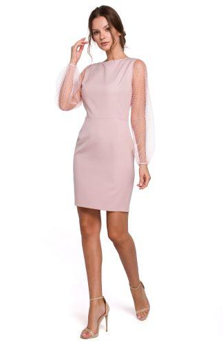 Sukienka z tiulowymi rękawami różowa