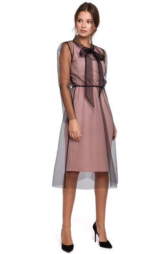 Sukienka wieczorowa z tiulem pudrowa