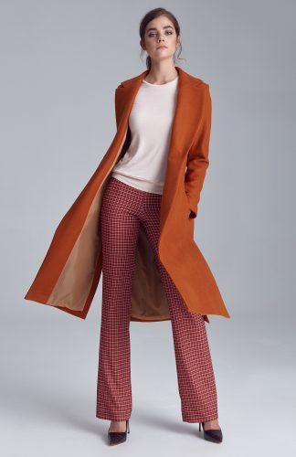 Płaszcz damski długi brązowy