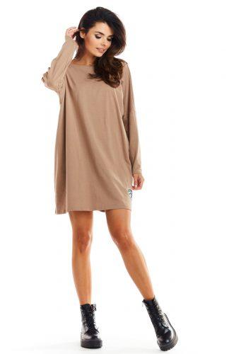 Sukienka oversize bawełniana beżowa