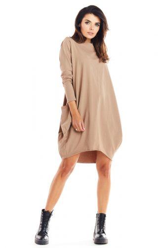 Sukienka bombka dresowa beżowa